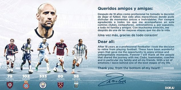Ex-Manchester City and Argentina defender, Pablo Zabaleta confirms retirement from football at 35