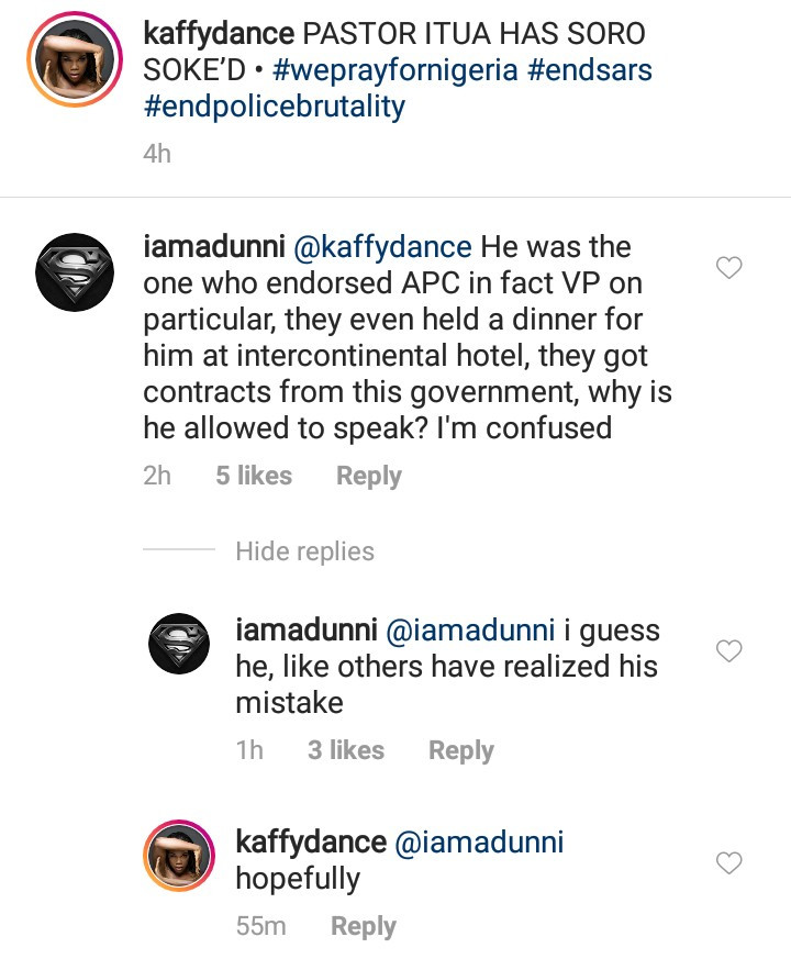 Adunni Ade asks why Pastor Ituah Ighodalo was allowed to speak at the #EndSARS candle light event after he