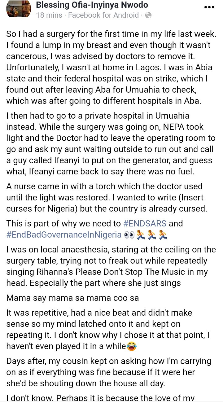 Woman narrates what happened after NEPA took light when she was undergoing surgery in Umuahia hospital