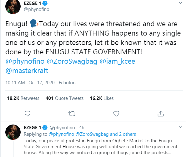 My life and that of other #EndSARS protesters has been threatened by Enugu state government - Phyno 1