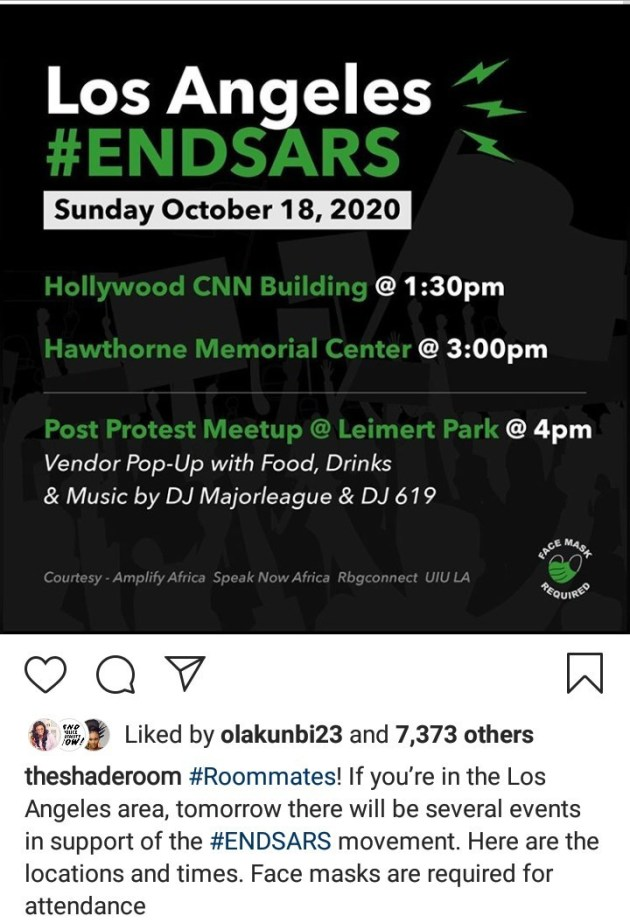 End SARS protest to hold in Los Angeles and foreign news publications are promoting it
