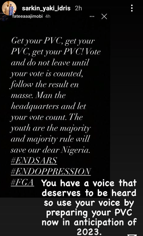 """Get your PVC and let your vote count. "" - Governor Ganduje"