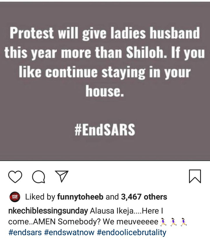 """End SARS protest will give ladies husband this year more than Shiloh"" Nkechi Blessing Sunday says"