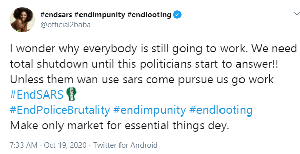#EndSARS protest: We need a total shutdown until politicians start to answer - 2Face