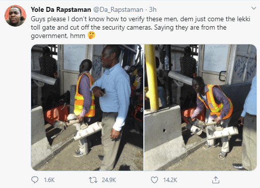 Photos of men cutting off security cameras at the Lekki toll gate just before the shootings started