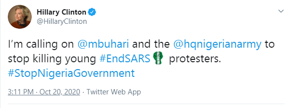 Buhari and Nigerian army should stop killing young Nigerian #EndSARS protesters - Hillary Clinton