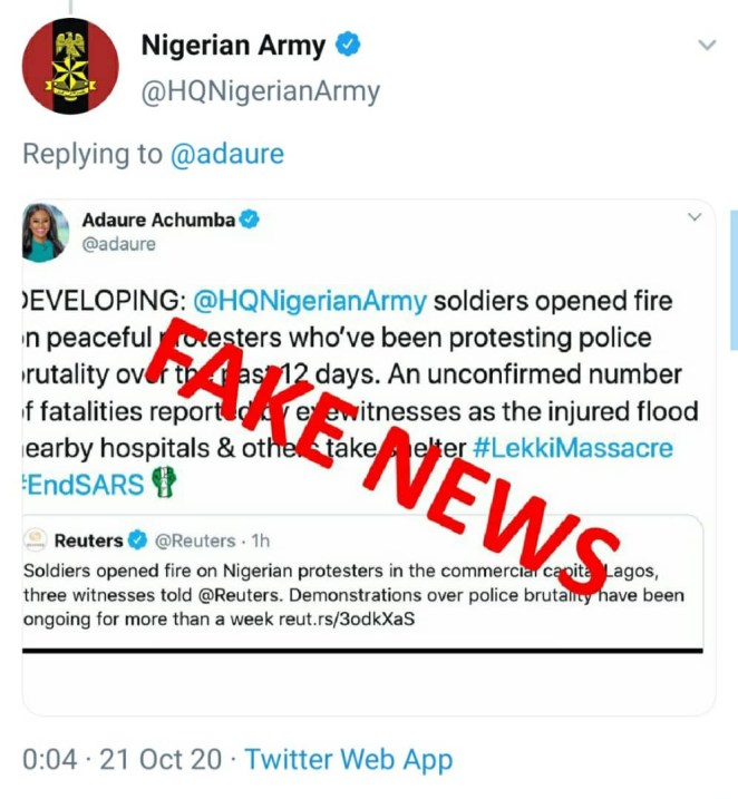 Nigerian Army claims no soldier was at Lekki tollgate where gunshots were fired at #EndSARS protesters. Also denies seizing bodies of victims