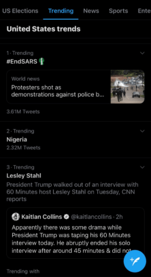 #EndSARS and Nigeria are the first two trending topics in the United States