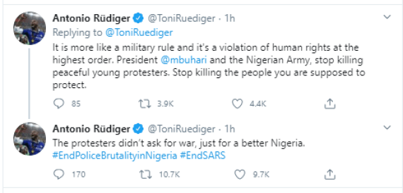 """""""The protesters didn?t ask for war, just for a better Nigeria"""" - Chelsea football star, Antonio R?diger reacts to Lekki tollgate gun attack"""