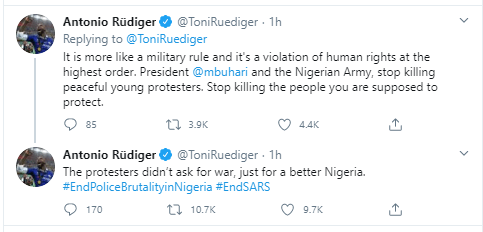 """The protesters didn?t ask for war, just for a better Nigeria"" - Chelsea football star, Antonio R?diger reacts to Lekki tollgate gun attack"