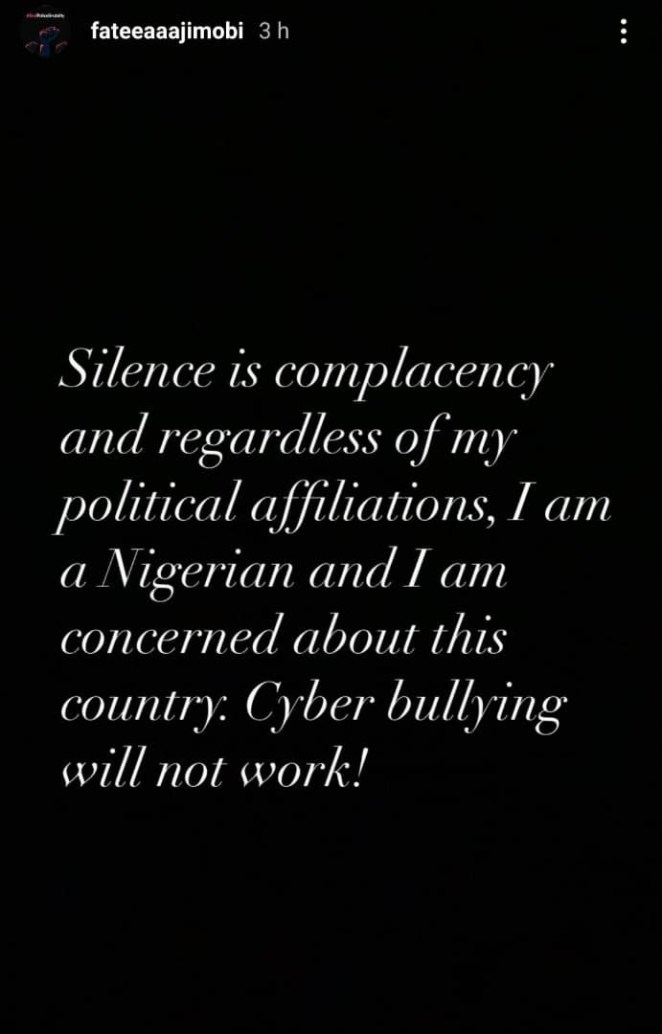 """Silence is complacency, cyber bullying will not work - Fatima Ganduje-Ajimobi writes hours after stating that she is embarrassed to have supported """"bunch of senseless and unpatriotic leaders"""