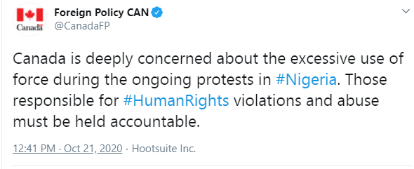 Those responsible for human right violations must be held accountable - Canadian government speaks about the ongoing protests in Nigeria
