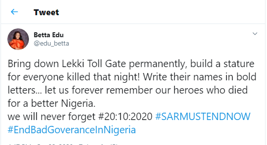 Bring down Lekki Toll Gate permanently and build a statue for every one killed that night - Cross River State Health Commissioner, Dr. Betta Edu