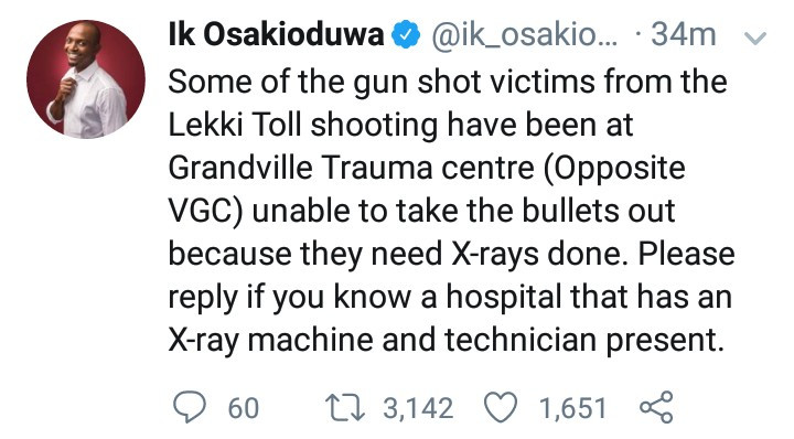 IK Osakioduwa reveals some gunshot victims of the Lekki toll gate shooting are unable to receive treatment due to lack of X-ray machine
