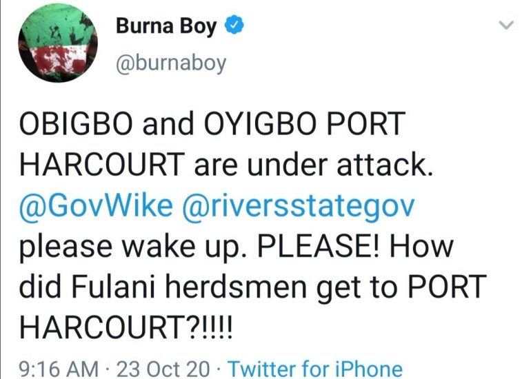 Burna Boy apologizes after being called out for his tweets about Obigbo and Oyibo being under attack
