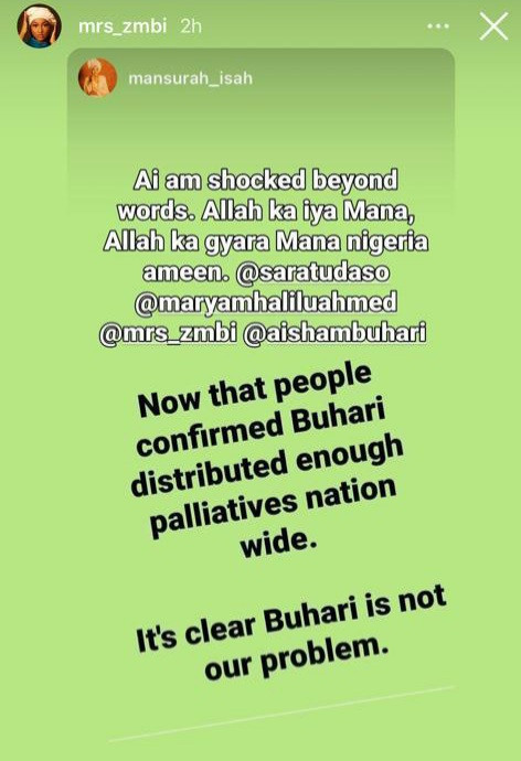 COVID19 Palliatives: Zahra Buhari reshares a post stating that President Buhari is not Nigeria