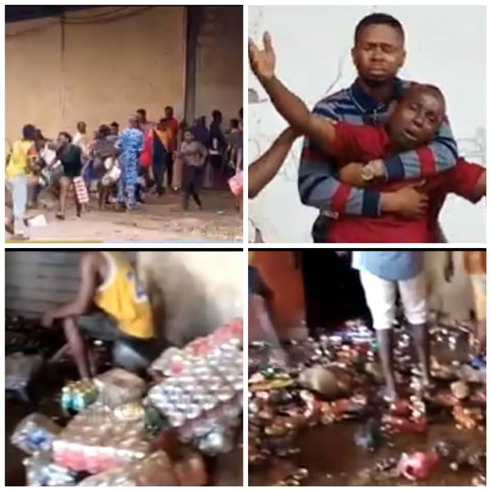 Business owners watch helplessly as hoodlums broke into their warehouses and carted away items in Edo state (video)