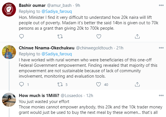 5f95bccb95ad6 Nigerians react after Minister of Humanitarian Affairs announced plans to empower 700 women with N20,000 grant