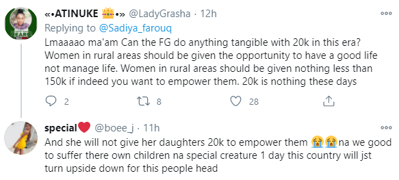 5f95bceb3f53c Nigerians react after Minister of Humanitarian Affairs announced plans to empower 700 women with N20,000 grant