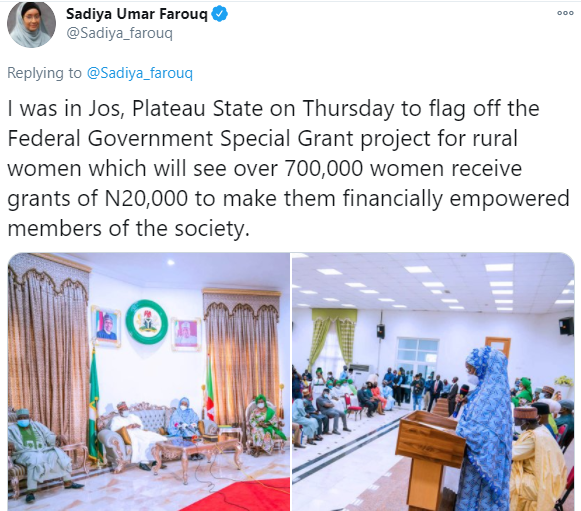 5f95bdbe114a2 Nigerians react after Minister of Humanitarian Affairs announced plans to empower 700 women with N20,000 grant