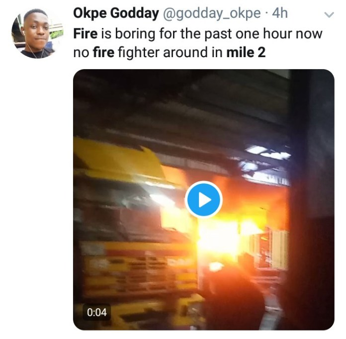 Fire at Mile 2 as tanker goes up in flames (video)