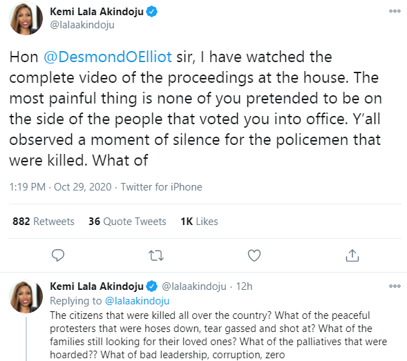 None of you pretended to be on the side of the people that voted you into office - Actress Kemi Lala Akindoju calls out Desmond Elliot and other Lagos lawmakers