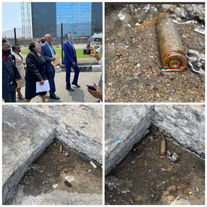 Lagos Judicial Panel of Inquiry visit Lekki tollgate, discover bullet shells on the floor (photos/video)