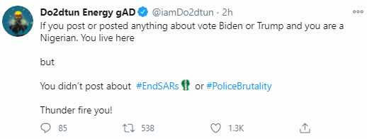 OAP Dotun calls out Nigerians who were silent on End SARS but are now commenting on US elections