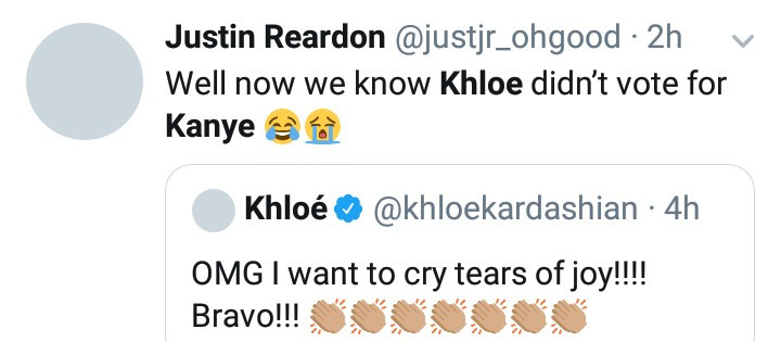 "5fa73289dc3d4 ""Khloe didn't vote for Kanye"" Twitter users react as Khloe Kardashian celebrates Joe Biden's victory over Trump and Kanye West"