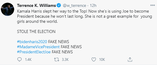 Comedian Terrence K Williams comes under fire for claiming Kamala Harris