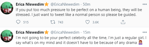 BBNajia star, Erica Nlewedim rants on Twitter