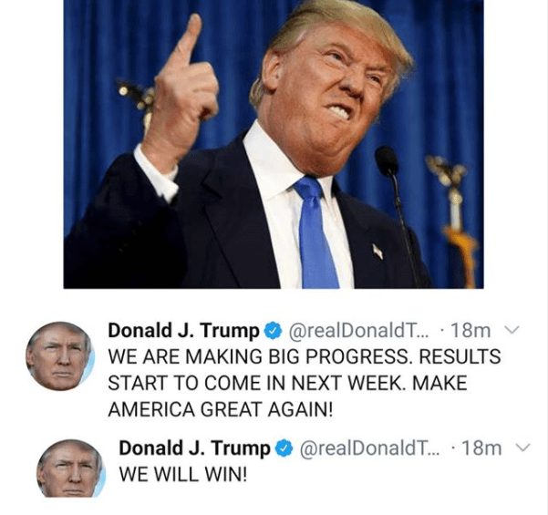 """""""Results start to come in next week"""" - President Donald Trump tweets as he stays hopeful he"""