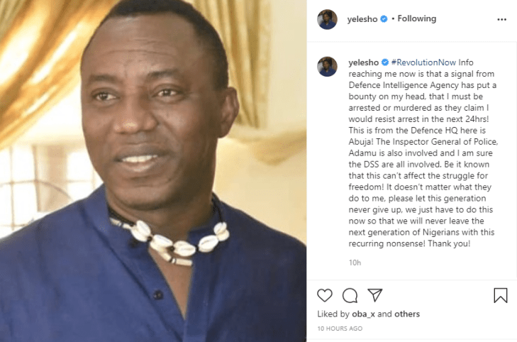 Defence Intelligence Agency has put a bounty on my head that I must be arrested or murdered - Omoyele Sowore alleges