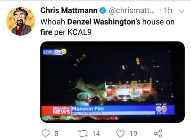 Fire crews respond to reports of smoke at Denzel Washington
