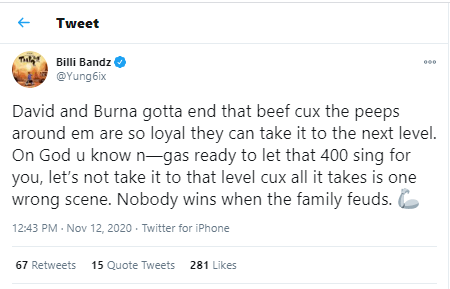 """Yung6ix calls on Davido and Burna Boy to quash their """"beef"""" over fear it may escalate?"""