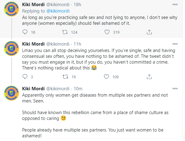 As long as you?re practicing safe sex, I don?t see why anyone, women especially, should feel ashamed of having multiple sex partners- journalist, Kiki Mordi says