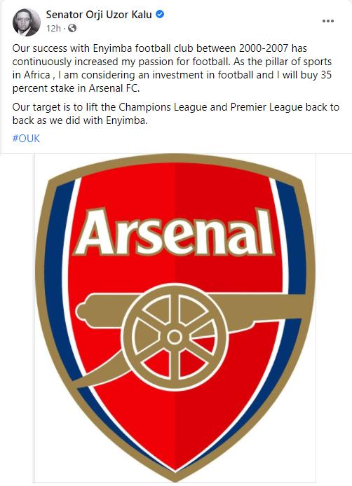 Orji Uzor Kalu reveals plan to buy 35% stake at Arsenal Football Club
