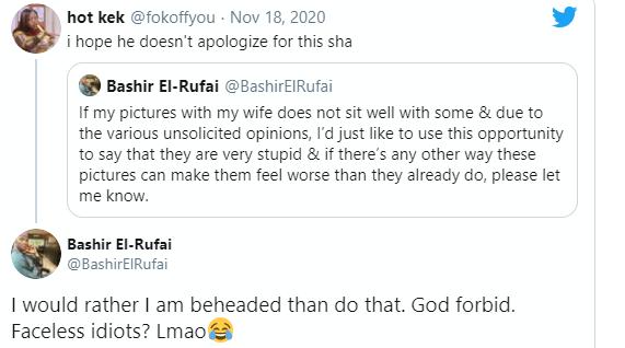 Lovedup photos: ?I would rather be beheaded than apologise?- Bashir El-Rufai tells critics