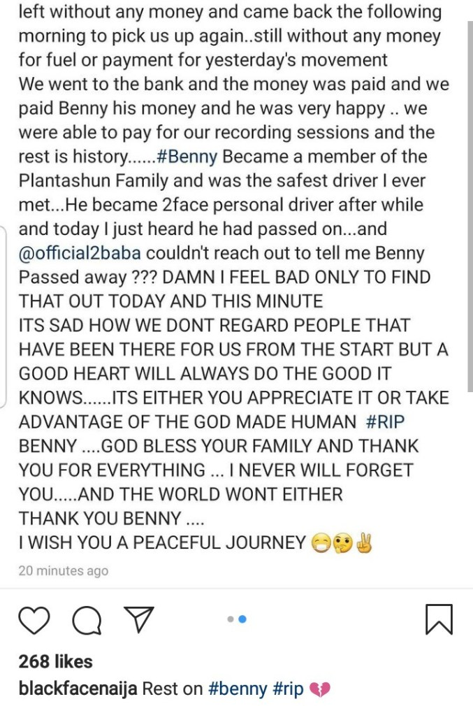 Blackface calls out Tuface following the death of his driver then clashes with Sound Sultan after he defended Tuface