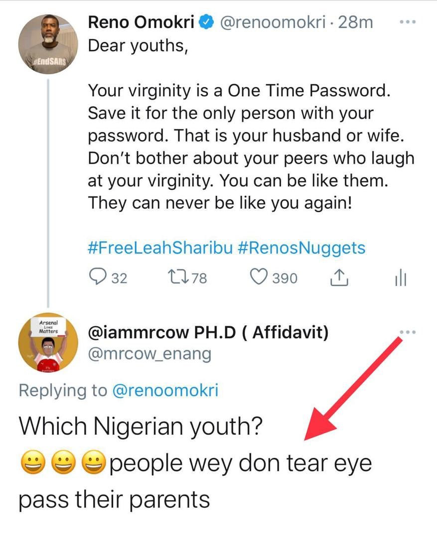 This is actually a common satanic strategy - Reno Omokri counters Twitter user who insinuated that there are no longer virgins in Nigeria