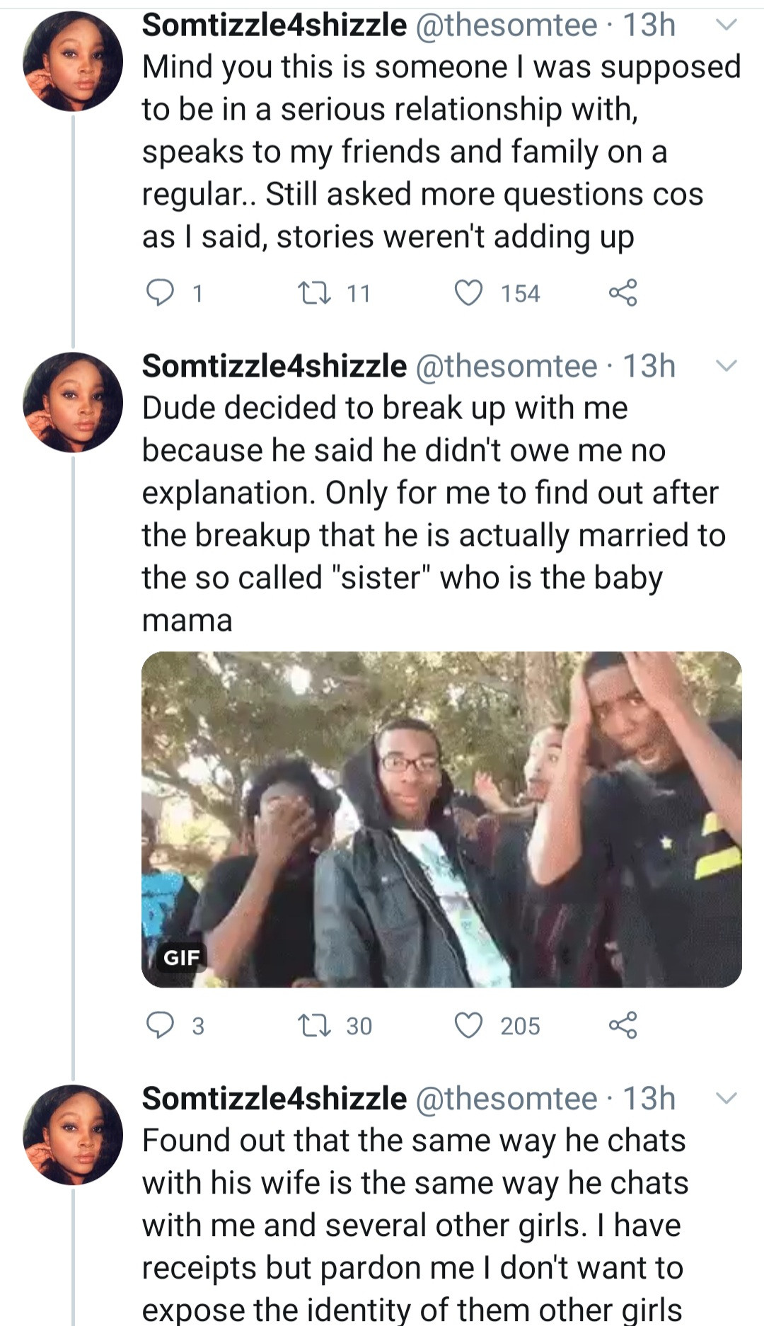 Woman names and shames her boyfriend as she narrates how she discovered he is married with kids