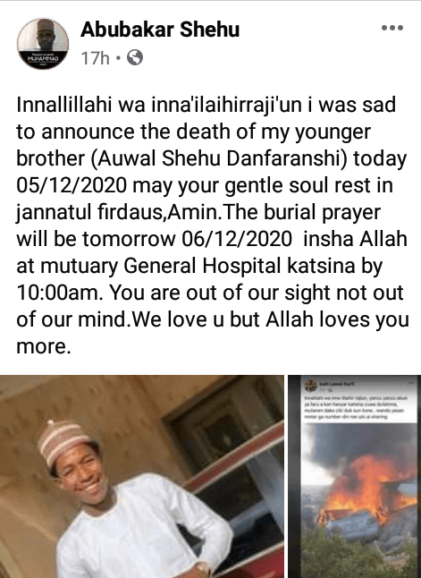 Newly graduated medical doctor preparing for NYSC and his friend burnt to death in ghastly motor accident in Katsina