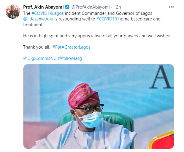 COVID-19: Sanwo-Olu is responding to treatment - Commissioner for Health, Akin Abayomi
