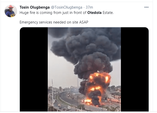 Fuel tanker explodes at Otedola Bridge in Lagos (video)