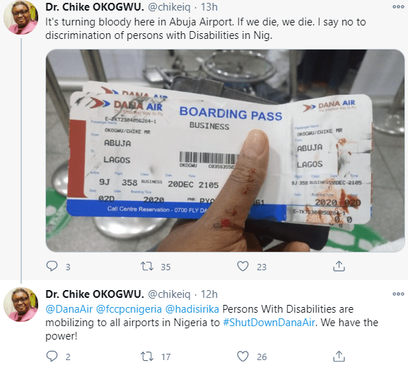 Arguement turns bloody at Abuja airport as man objects to being discriminated against when airline refused to let him board because of his wheelchair