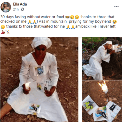 Nigerian lady, a fan of Hushpuppi on 30 days of fasting and prayers for him (photos)