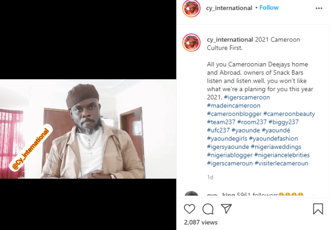 Cameroonian actor/comedian Pancho Cy International incites xenophobic attacks against Nigerian artistes, alleges that Nigerians are greedy (video)