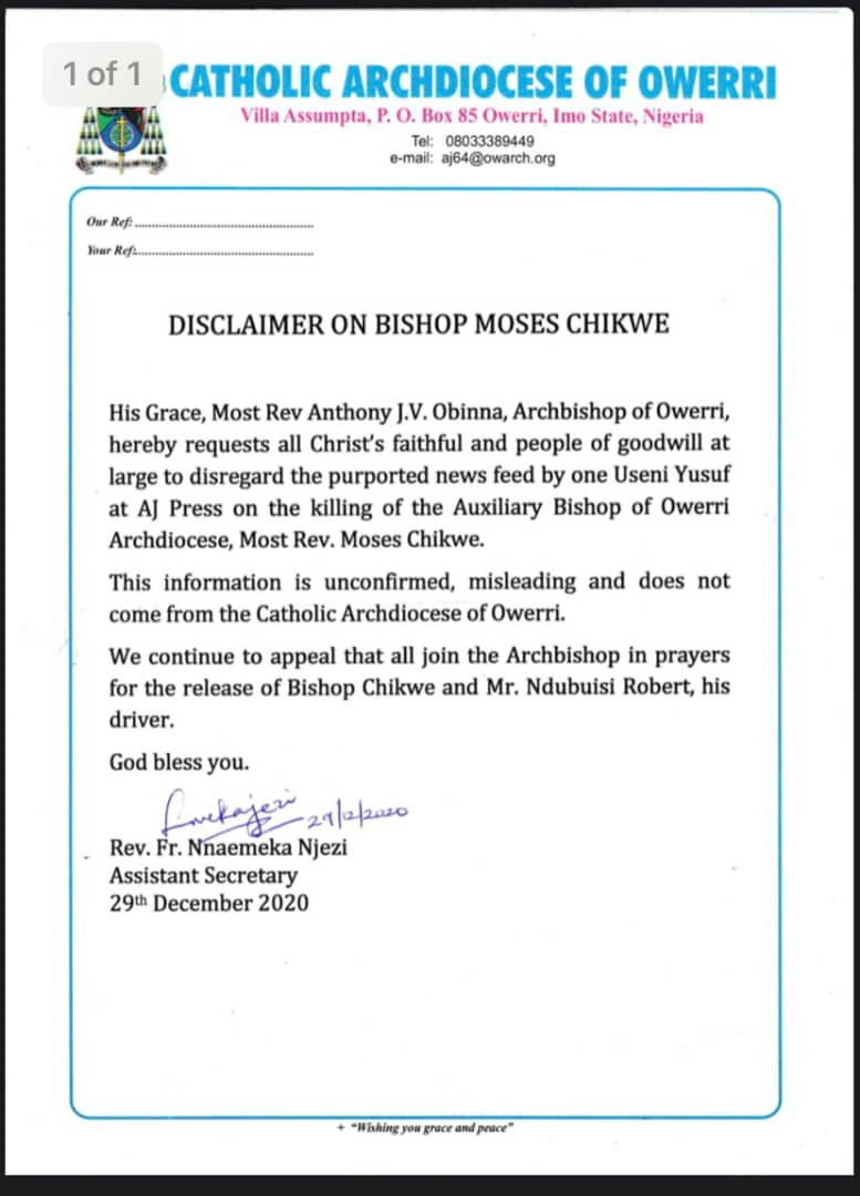 Abducted auxiliary bishop has not been killed-Owerri diocese