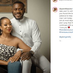 Nollywood star Deyemi Okanlawon and his wife Damilola are celebrating the 8th anniversary of their wedding.