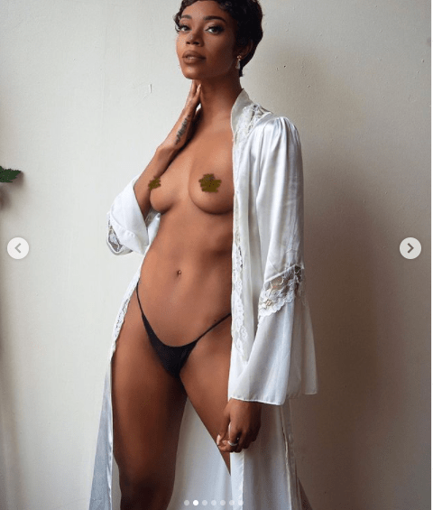 Braless Michelle Okoro flaunts her bare breasts in new sexy photos